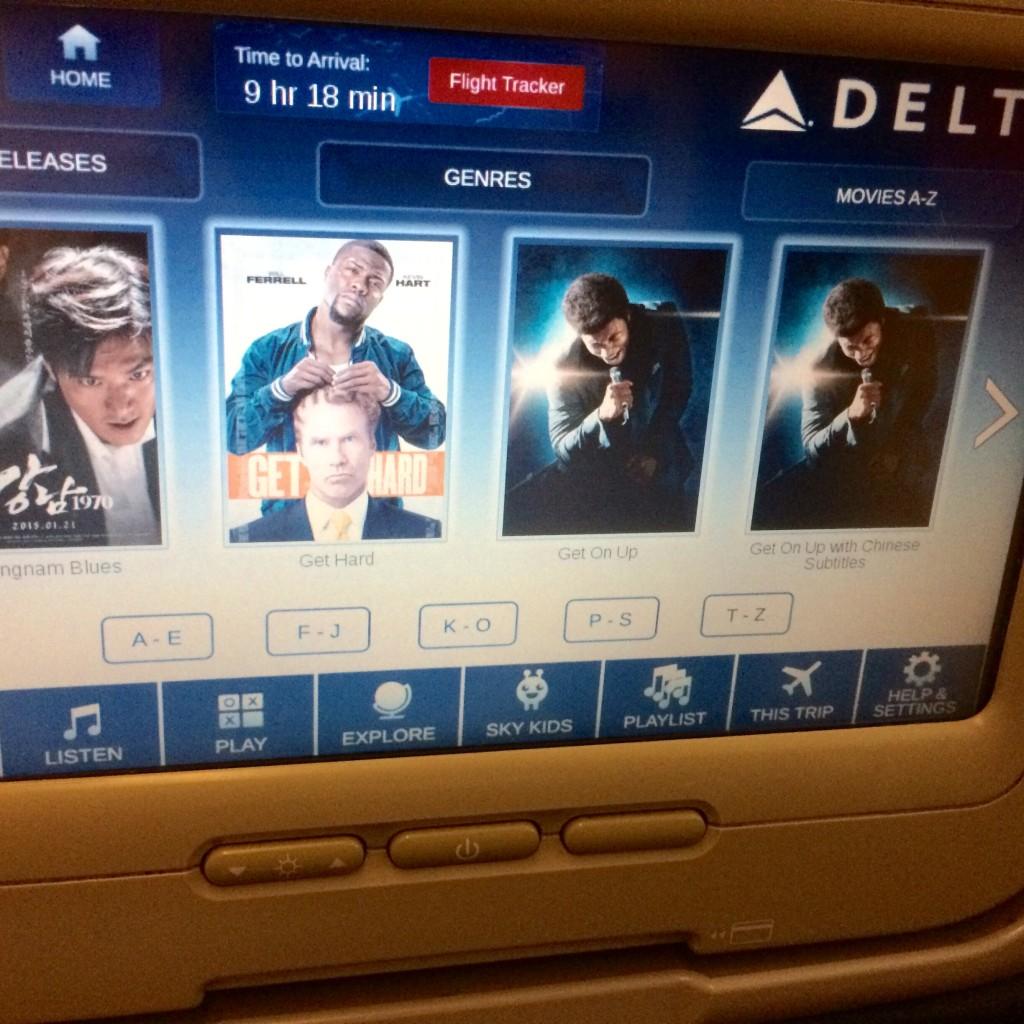 デルタ航空でアトランタへ。映画が充実!Get on upも